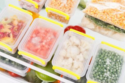 Frozen food in the refrigerator. Vegetables on the freezer shelves. Stocks of meal for the winter. - Southern California Sub-Zero Repair
