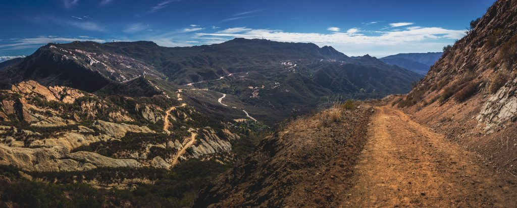 Picturesque Overlook Of Calabasas Peak Trail Winding Through The