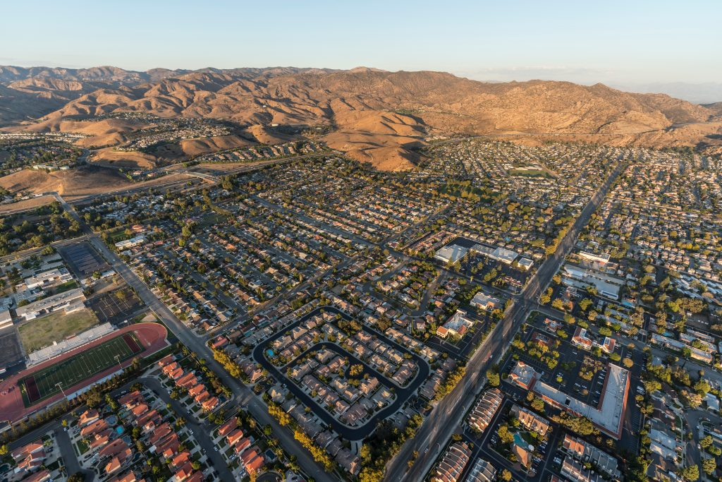 Aerial view of of Simi Valley and Rocky Peak near Los Angeles in