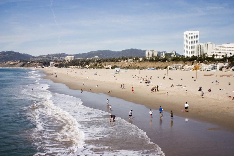 santa monica beach with skylines